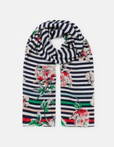 Joules Conway Printed Scarf - Blue Stripe Floral