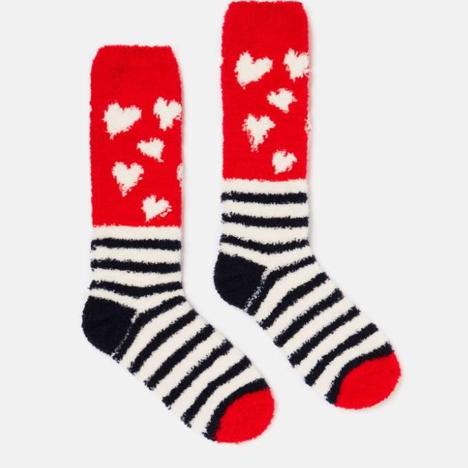 Joules Fabulous Fluffy Supersoft Sock - Navy Heart/Stripes - UK 4-8