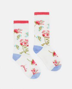 Joules Ladies Brill Bamboo Printed Socks 1 Pair - Cream Florals - UK 4-8