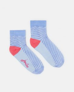 Joules Ladies Brill Bamboo Shortie Printed Socks - Blue Stripes - UK 4-8
