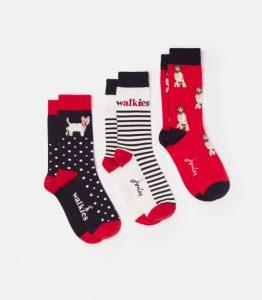 Joules Ladies Brill Bamboo Socks 3pk - Cream/Dog Walk - UK 4-8