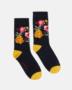 Joules Ladies Brilliant Bamboo Sock 1 Pair - Navy/Gold Floral - UK 4-8