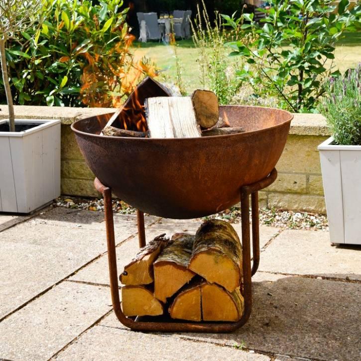Ivyline Outdoor Cast Iron Firebowl on Stand in Rust Iron H57.5cm W55cm