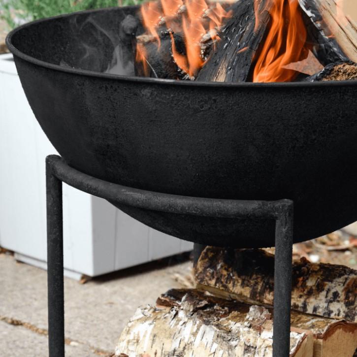 Ivyline Outdoor Cast Iron Firebowl on Stand in Black Iron H57.5cmW55cm