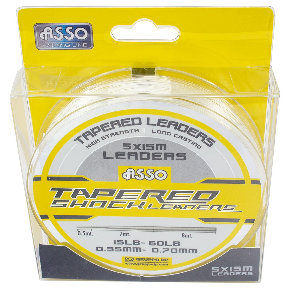 Asso Protector Tapered Leader Clear 15lb-60lb