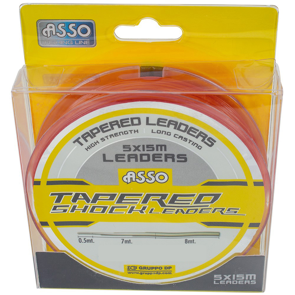 Asso Protector Tapered Leader Red 18lb-70lb