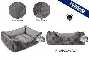 Sweet Dreams Checkered Pet Bed Large 71X58X23Cm