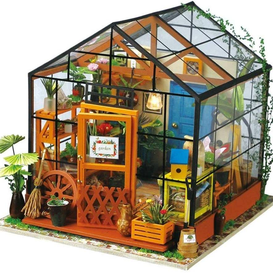 3D DIY House Kit Greenhouse with LED Light Miniature Model Making Woodcraft