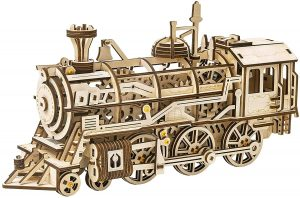 3D Puzzle Steam Train Wooden Model Kits - Mechanical Jigsaw Gear Drive Locomotive