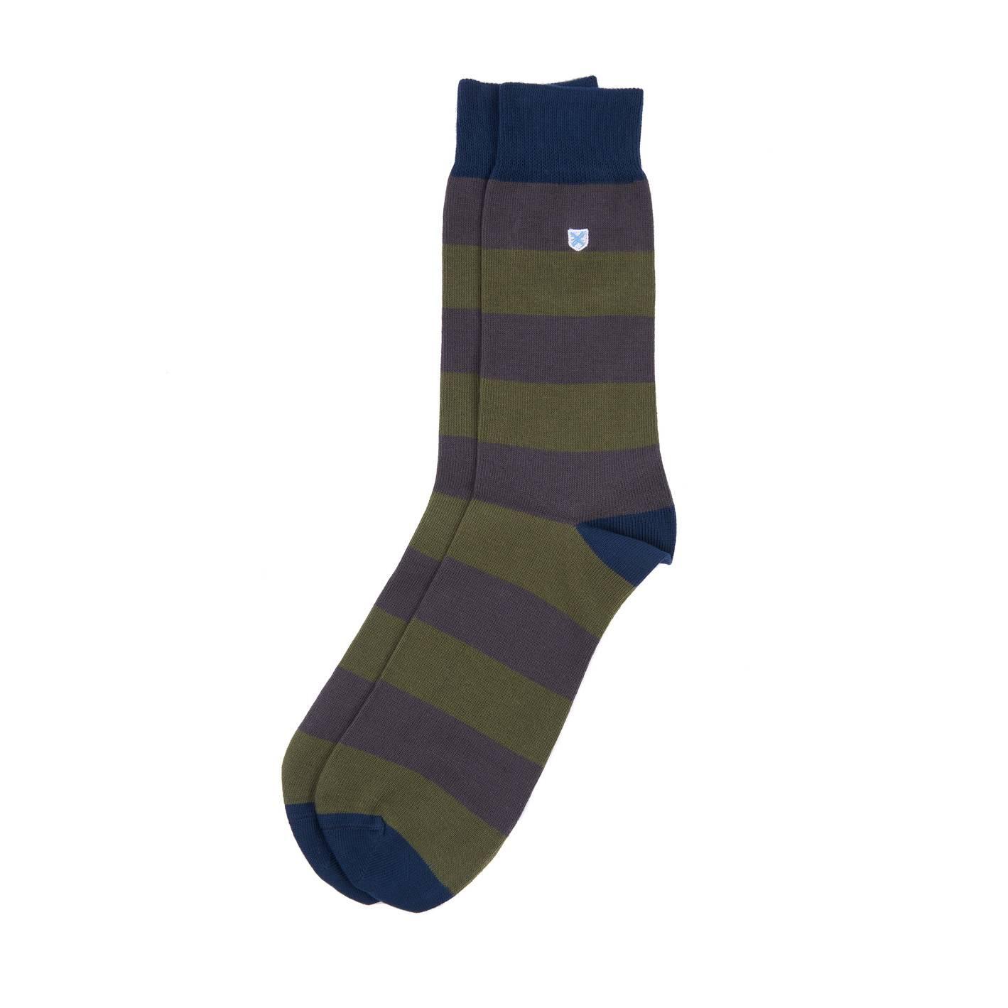 Barbour Oxton Socks - Olive/Grey - L