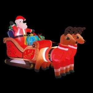 Premier 3m Inflatable Santa in Sleigh with Reindeers