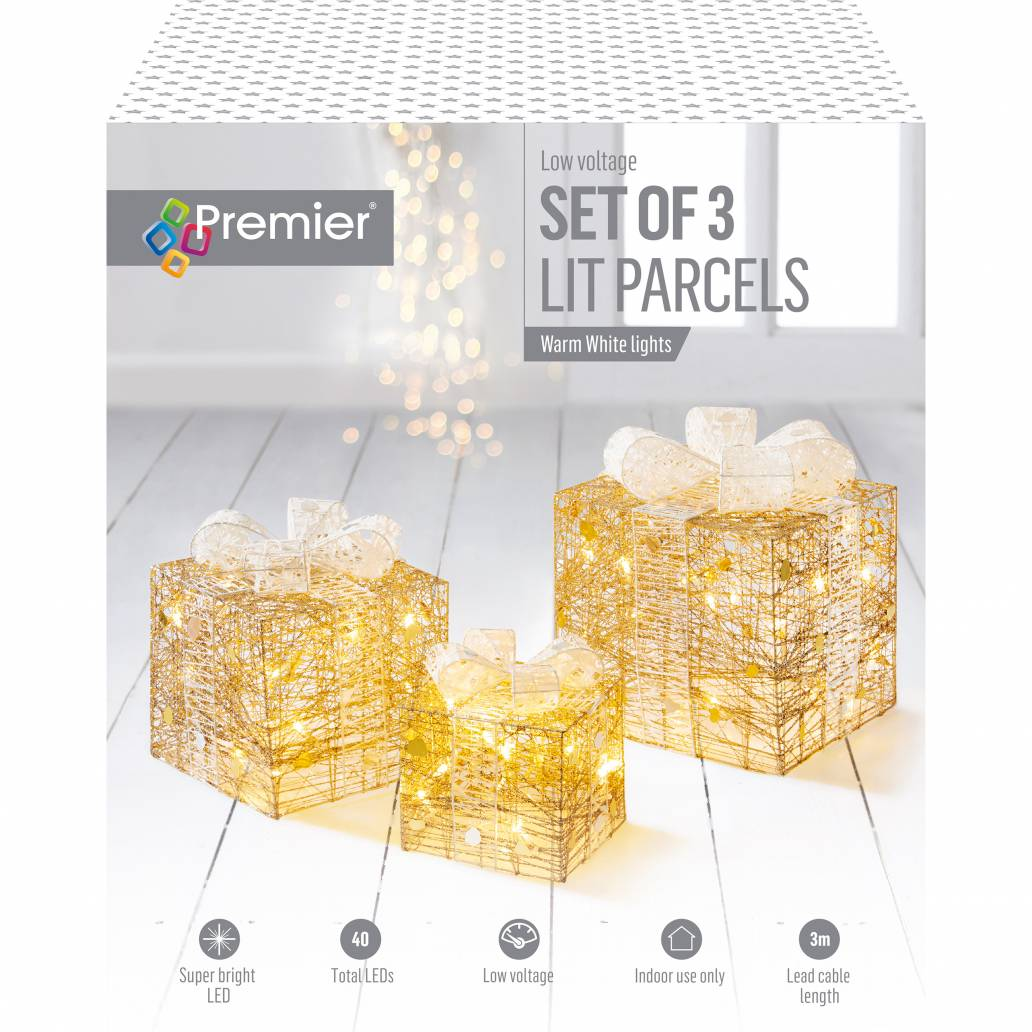 Premier 3pc Gold And White Parcels With 40 Warm White LEDs