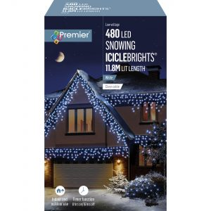 Premier 480 LED Snowing Icicles Timer - White