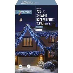 Premier 720 LED Snowing Icicles Timer - Blue & White