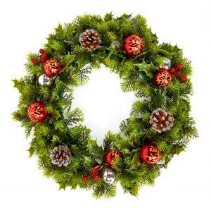 Premier 45cm Baubles Cone Wreath