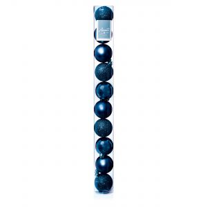 Premier 10x60mm Dark Blue Multi Finish Baubles
