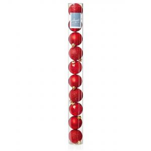 Premier 10x 60mm Multi Finish Baubles - Red