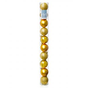 Premier 10x 60mm Multi Finish Baubles - Gold