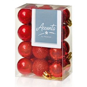 Premier 24 x 30mm Multi Finish Baubles - Red