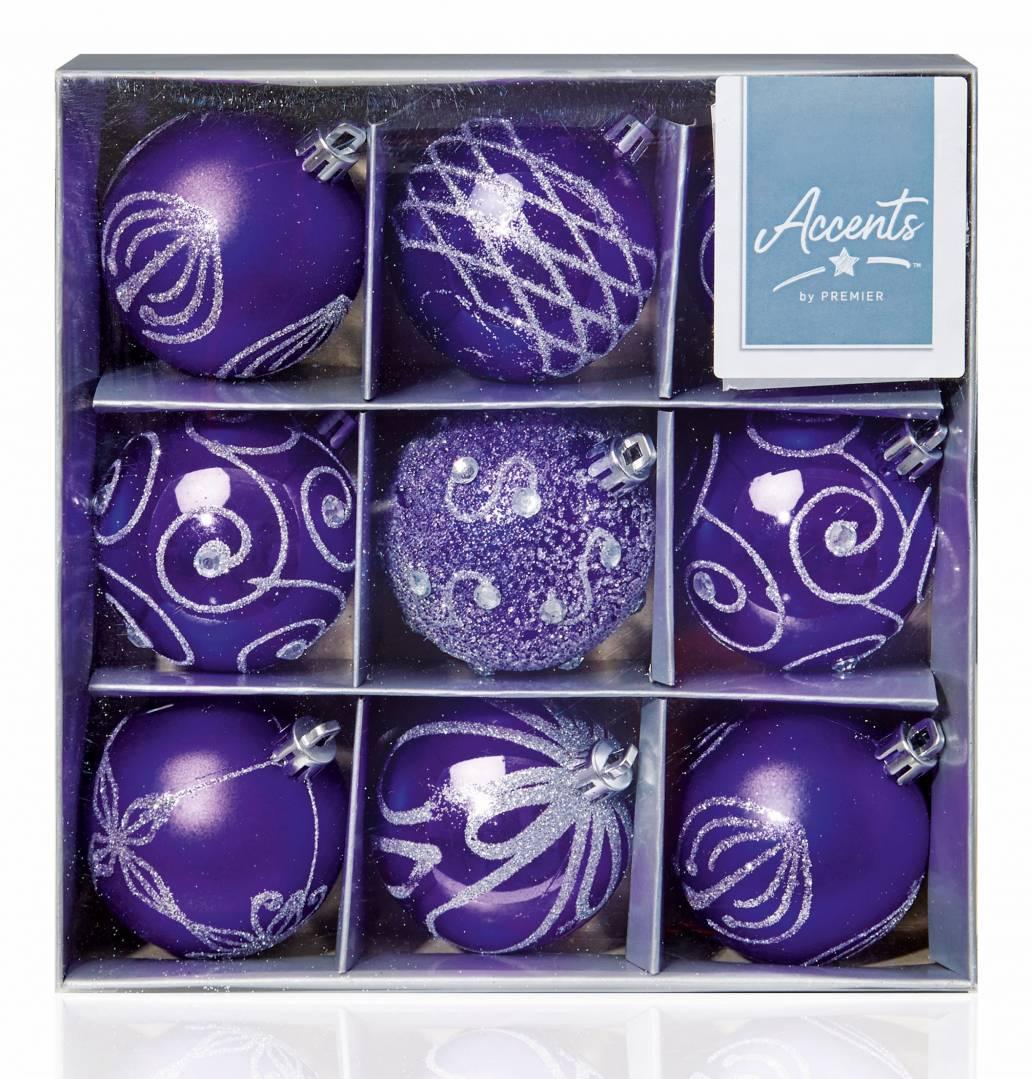 Premier 9 x 60mm Multi Finish Baubles - Purple