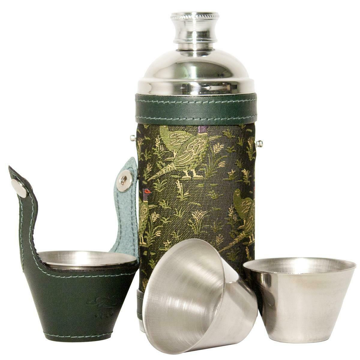 Bisley Pheasant Green 8oz Hunters Flask & Cup Set