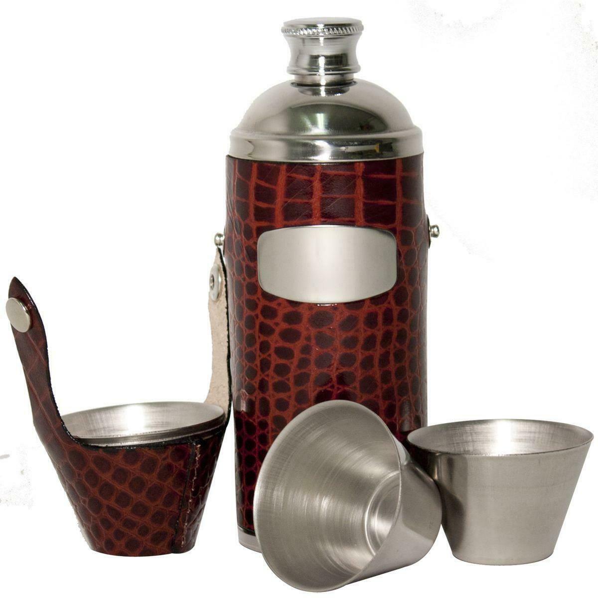Bisley Brown Croc Leather 8oz Hunters Flask & Cup Set